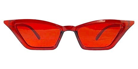 Ultra Skinny Red Transparent Cat Eye Sunglasses