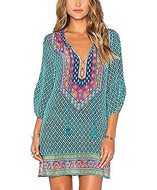 Bohemian Neck Tie Dress